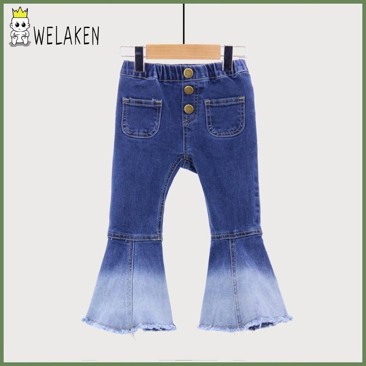 weLaken Fashion Girls Denim Bell-bottoms Solid Children's Clothing Spring Summer Apparel 2017 New Kids Vintage Jeans