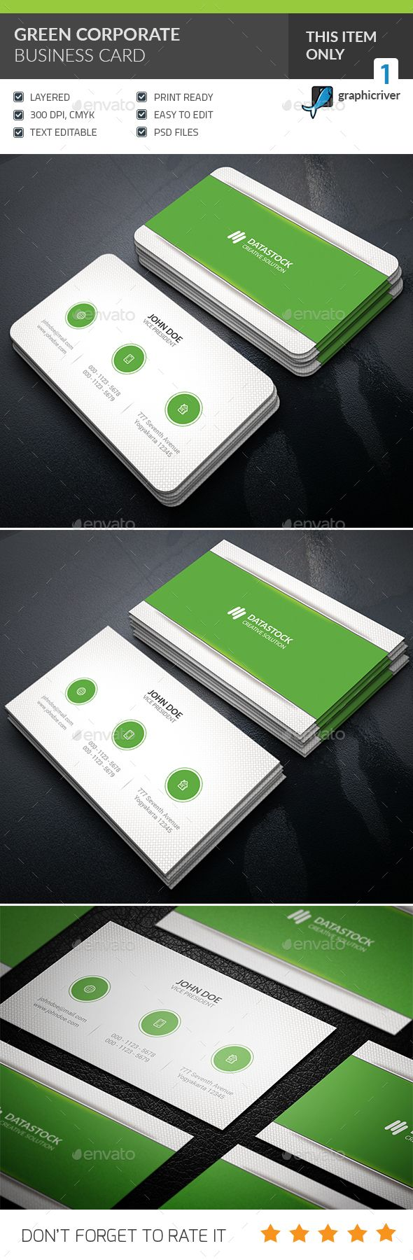 Green Corporate Business Card Design - Corporate Business Card Template PSD. Download here: https://graphicriver.net/item/green-corporate-business-card-/16936397?s_rank=3&ref=yinkira