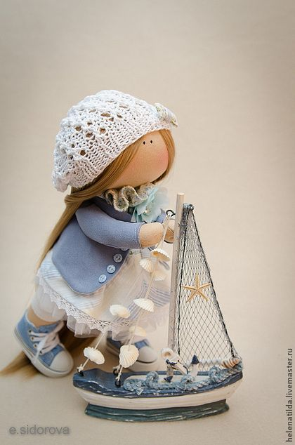 Мили - голубой,белый,коллекционная кукла,кукла в подарок,пупс,кукла ручной работы