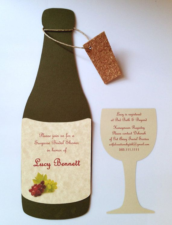 Wine Bottle Invitations by ArtfulCreationsByDeb on Etsy, $30.00 | Party Ideas | Pinterest | Wine ...