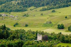 Abergeldie Castle is a four-floor tower house located near Crathie, Aberdeenshire, Scotland. It is protected as a category A listed building. The castle was built around 1550.
