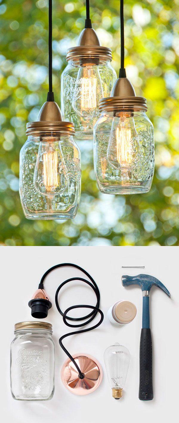 Lámparas hechas con frasco de conservas. La imagen inferior muestra los elementos a utilizar para la creación de éstas lámparas.