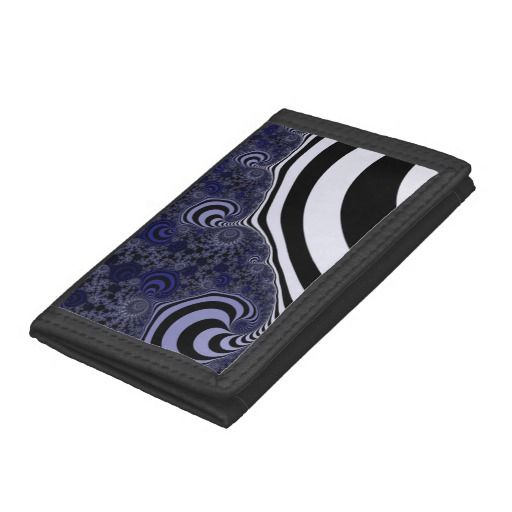 Blue and black striped fractal. trifold wallet #trifoldwallet, #wallet, #customized, personalized, artwork, buy, sale, #giftideas, #zazzle, shop, discount, deals, gifts, shopping, abstract, antenna, art, artwork, bee, black, #blue, bright, cold colors, computer, cool colors, duotone, #fractal, fractal art, fractal artwork, generated, illustration, julia, light, locator, mandelbrot, pattern, paw, square, striped, suction, white, strip, dark, funny strips, modern