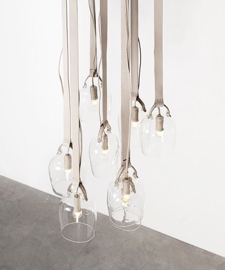 Craftica by Formafantasma, Bells-lights, 2012, discarded Fendi leather, glass