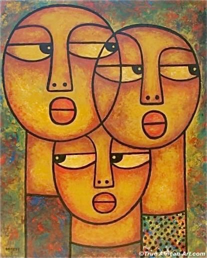 Suspicion -ELISHA ONGERE - Contemporary African Oil Paintings ELISHA ONGERE's Contemporary African Oil Paintings