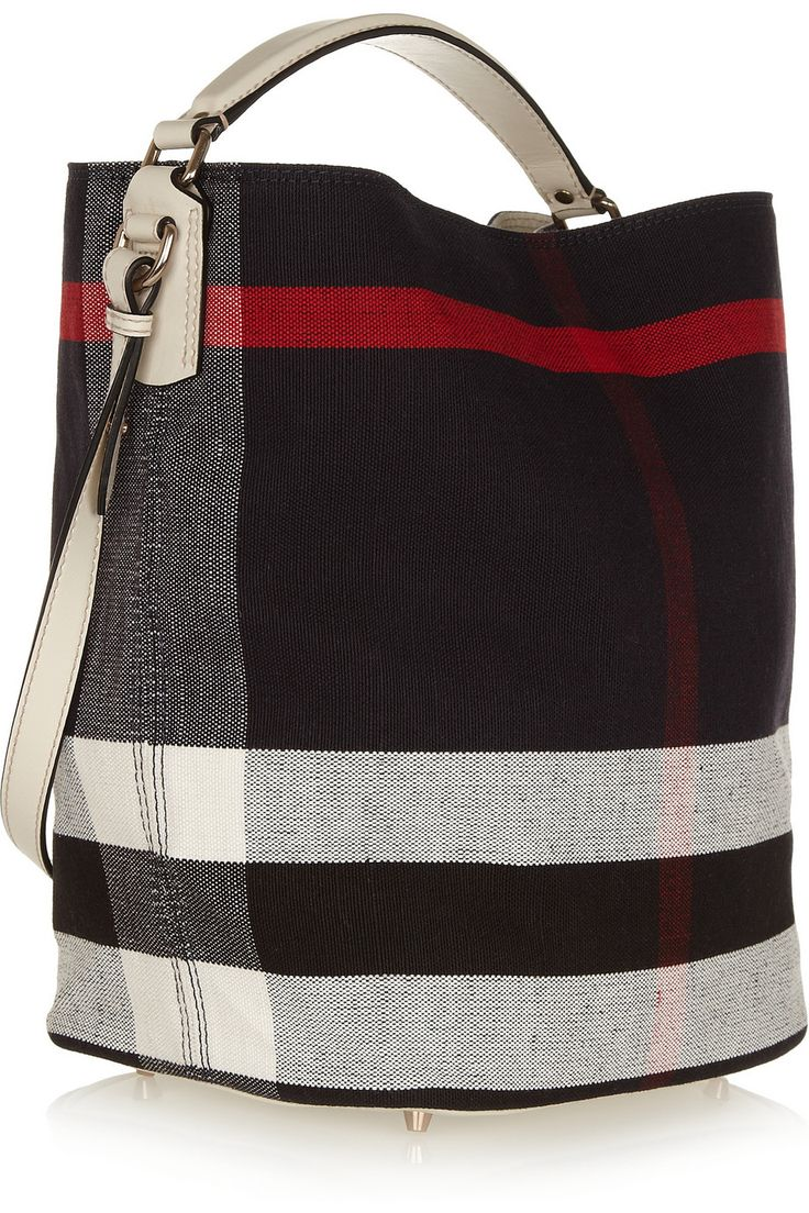 Burberry Signature Checked Canvas Hobo Bag with Top Handle and Shoulder Strap