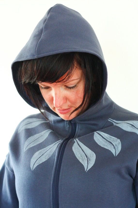 Handmade and hand printed hoodie in blue by Faite on Etsy, $60.00
