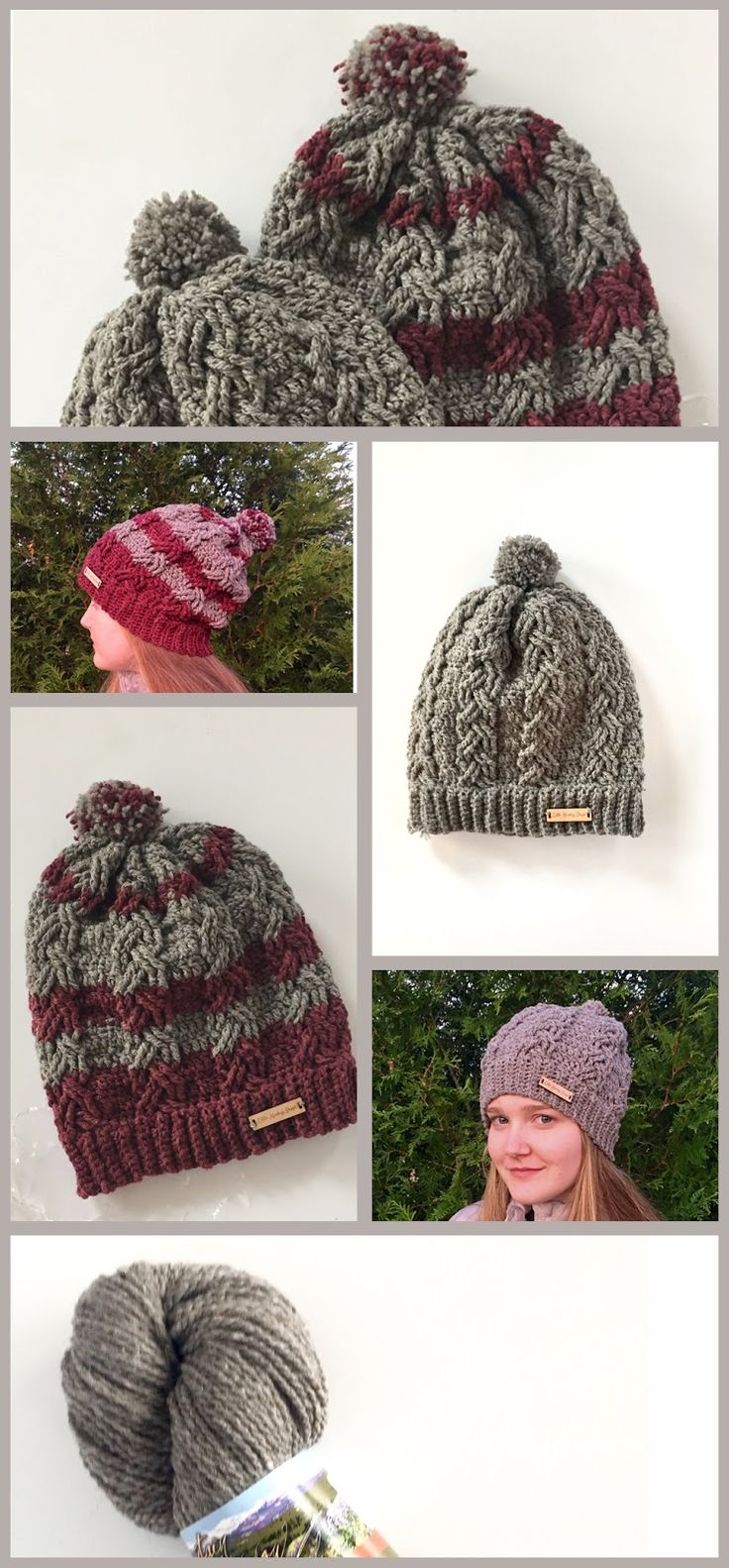 Dreaming of the Slopes Hat crochet Pattern and crochet cable stitch tutorial video by Little Monkeys Design.
