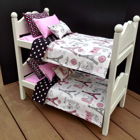 American Doll Furniture, Bunk Beds, With Pink, Black Paris Bedding