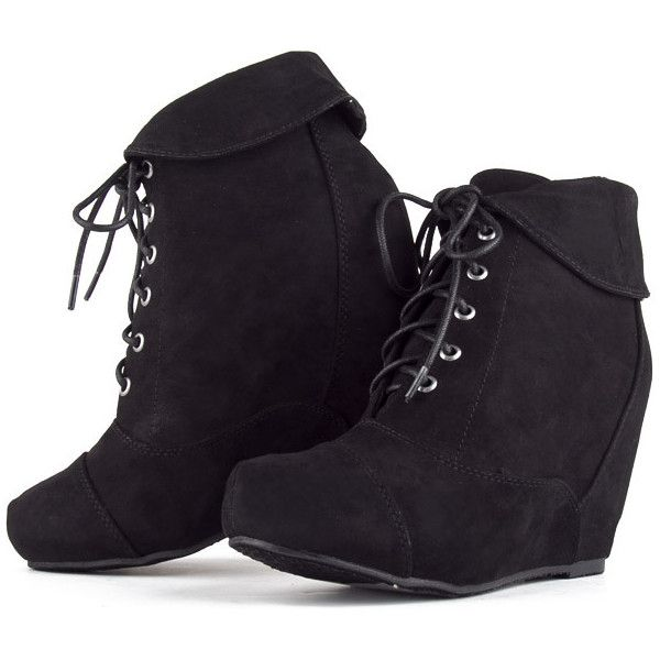 Wedge Booties | Bamboo MARA Lace Up Fold Over Collar Suede Hidden... (44 CAD) ❤ liked on Polyvore featuring shoes, boots, ankle booties, suede bootie, lace up bootie, bootie, lace up boots and suede boots