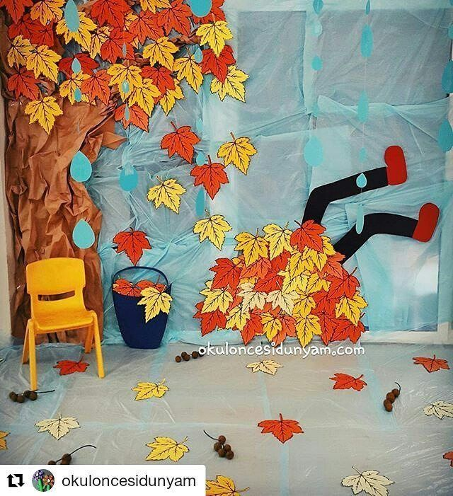 Pin By Sabriye Demirci On Yuvaaa Fall Crafts For Kids Fall Classroom Decorations Classroom Crafts