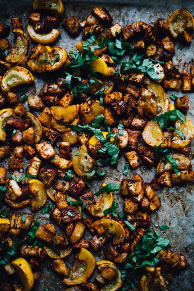 smokey geröstete Auberginen und Kürbis mit Hirse socca | vegan und glutenfreie Rezeptur über für Nahrung herumtollen