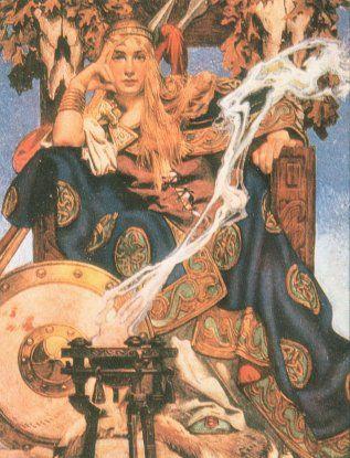 Maeve, Celtic Goddess of women's bodily cycles and rhythms. Leyendecker illustration 1916