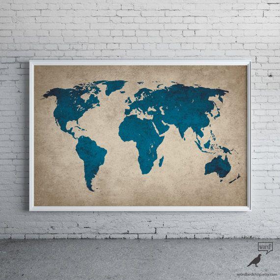 Rustikale Marineblau Welt Karte alte Welt Karte von WordBirdShop