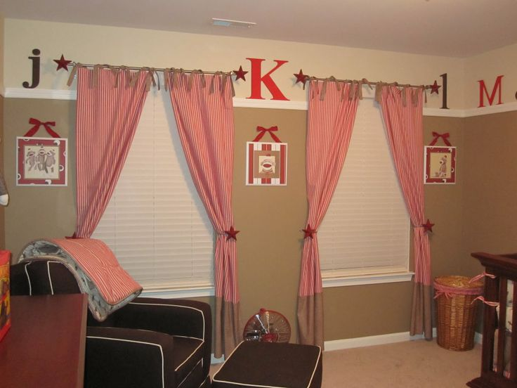 sock monkey nursery | little-ga-ga: The Sock Monkey Room Love the Curtains