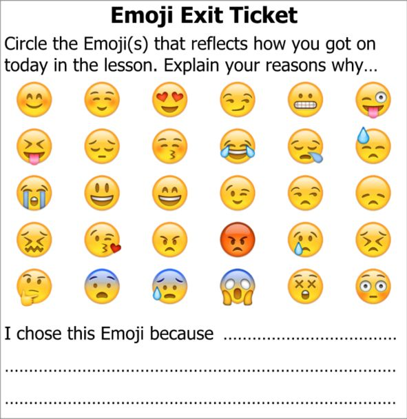 Title: Exit Ticket Emoji Description: End of lesson task to allow pupils to…