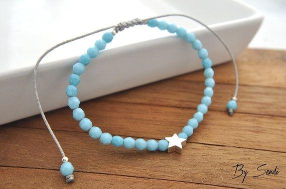 Sterling Silver Star Beaded Bracelet, star pendant, silver star, star, silver bracelet, beaded bracelet, silver Beads, bridal bracelet, Everyday…