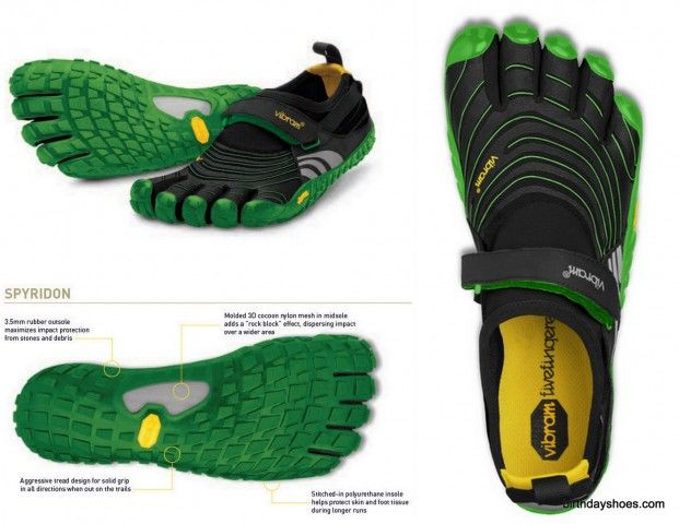 Spyridon Vibram FiveFingers - Fall 2012 (yet to be released in the U.S.; available in Europe Spring 2012) toe shoes take the Spyridon rubber, trail running outsole first released in Spring 2012 and apply a non-laced/strapped upper design.  Men's and women's.  Photo from a preview.