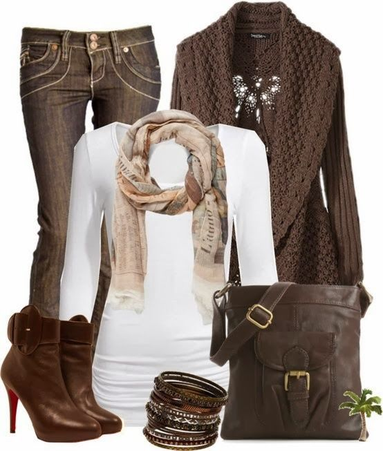 White blouse, scarf, brown cardigan, jeans, handbag and brown high heel boots for fall