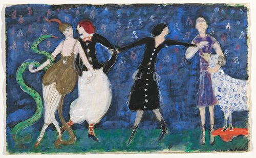 """Euridice And Her Snake, Two Tango Dancers And St. Francis. Costume Design For The Artist's Ballet """"Orphée Of The Quat'z Arts"""" Florine Stettheimer"""