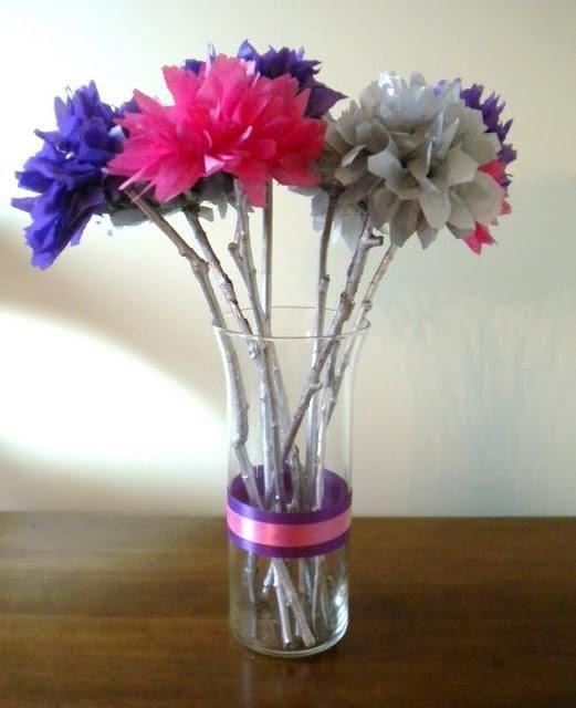 DIY Tissue Paper Flower Wedding Centerpieces