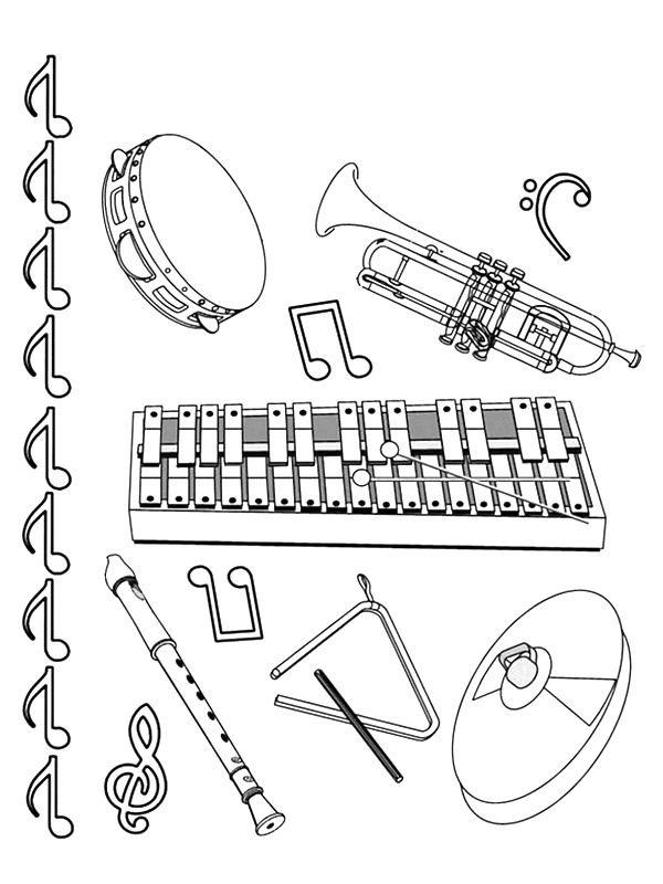 Musical Instruments Coloring Pages Halaman Mewarnai