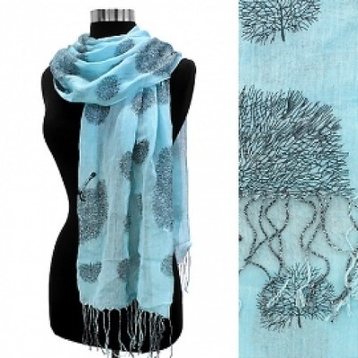 Tree of Life Scarf in Blue