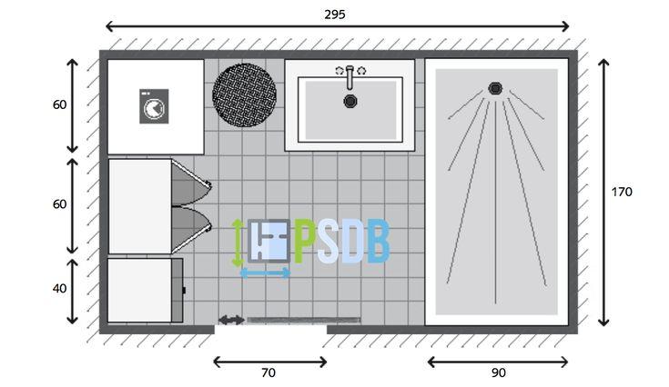 Plan de salle de bain de 5m2 plans pour moyennes salles for Surface moyenne salle de bain