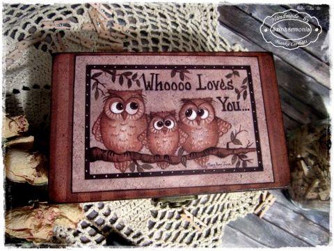 Whooo Loves You... (teafiltertartó, teás doboz, ékszertartó), Otthon, lakberendezés, Esküvő, Tárolóeszköz, Doboz, Meska