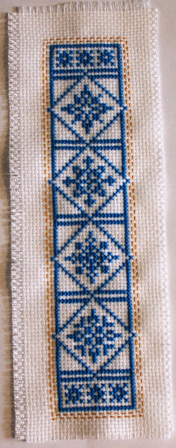 Snow flakes - no two alike. Cross stitch bookmark. on Etsy, $12.50 - love the little border around the outside