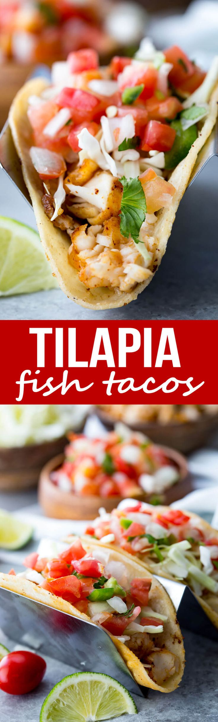Tilapia Fish Tacos: Easy to make, mildly flavored, delicious, flaky, and loaded with flavor. These tilapia fish tacos are healthy, easy, and delicious. via @Rachael Yerkes