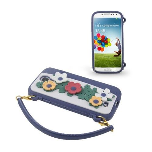 Bloemen Tas (Blauw) Samsung Galaxy S4 Hoesje