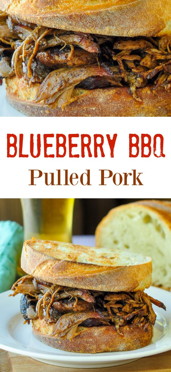 Blueberry Barbecue Pulled Pork - a deliciously different version of pulled pork that you can cook in the oven or in an outdoor barbecue or smoker for even more flavour.