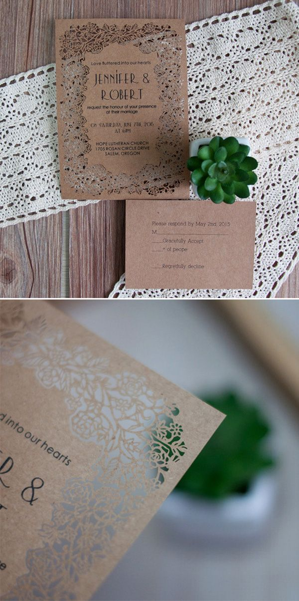 affordable rustic elegance laser cut wedding invitations