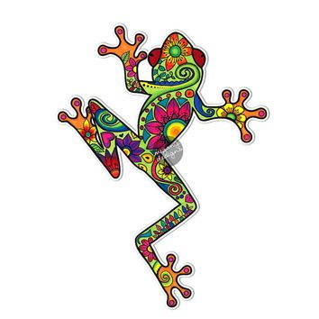 Tree Frog Car Decal Colorful Design Bumper Sticker Laptop Decal Pink Green Teal Yellow Jungle Flowers Cute Car Decal Hippie Boho Frog