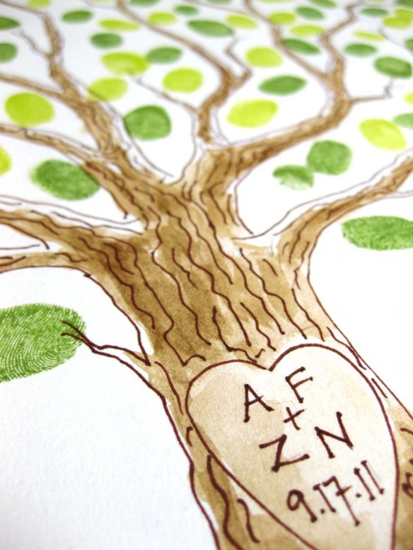 """inked with a watercolor wash and initials """"carved"""" into the trunk."""