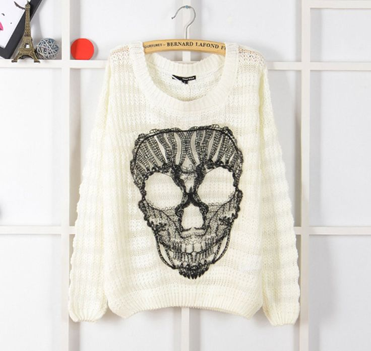 Women Skull Gauze Front Loose Sweater Pullover XS S M L #YFX #Other #Crewneck