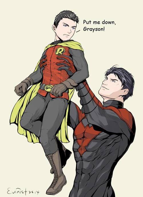 Damian (Robin) and Dick (Nightwing)
