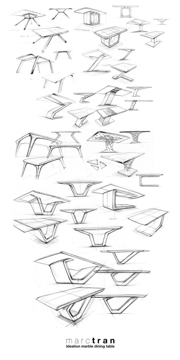 Ce croquis montre sous plusieurs angle des tables. L'objet n'est pas détaillé, les croquis sont rapide. Cette technique peut etre utilisé dans une exposition, ou pour représenter des architectures, des objets de formes irrégulieres.