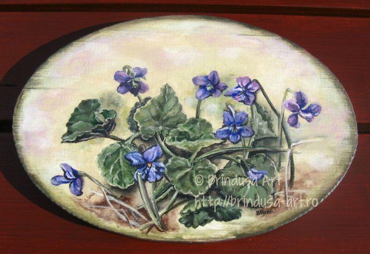 Brîndușa Art Oval wooden plaque, acrylic painting: wild violets. A touch of spring.  Placă ovală de lemn, pictură în culori acrilice: toporaşi. Un strop de primăvară. #violets #toporasi #flowers #flori #spring #primăvară #woodpainting #acrylics