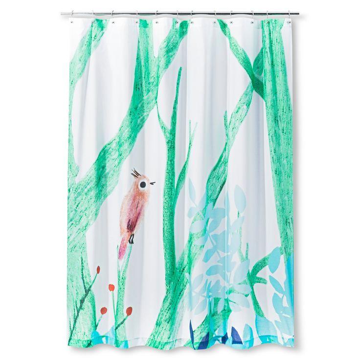 Bird Branch Shower Curtain Green/Blue - AiR,