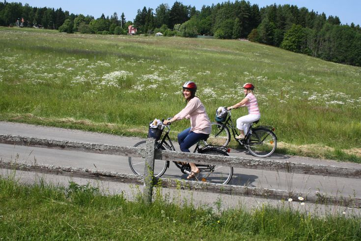 Cycle tour on countryside in Sweden