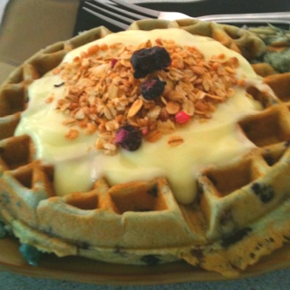 breakfast. Loved eating this! Blueberry waffles with lemon yogurt ...