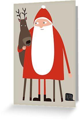Weihnachtskarte mit Weihnachtsmann und Rentier   nicht nur für Kinder   niedliche Illustration zur Weihnachtszeit   Weihnachtspost