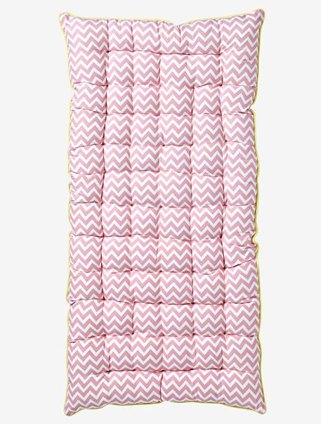 Pink Zigzag Floor Cushion - White/pink - 1