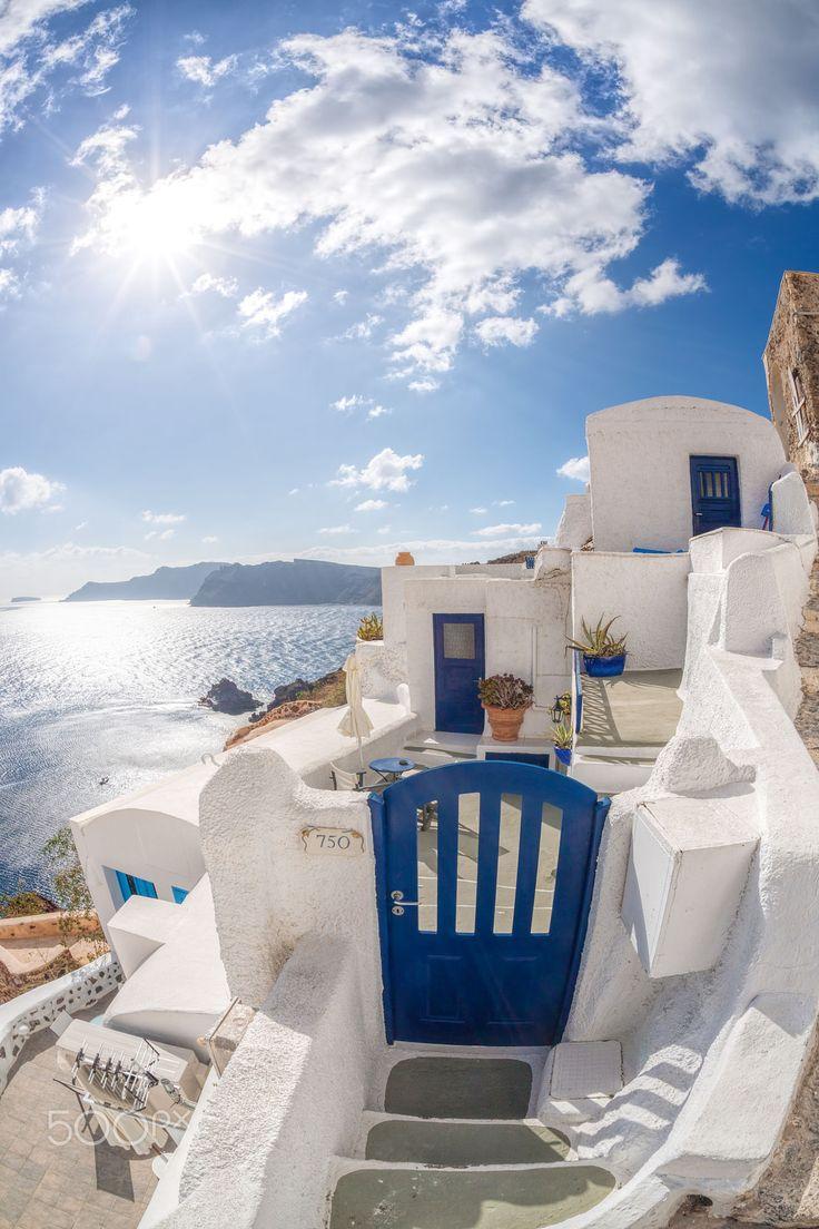 Blue gate in Oia, Santorini, Greece