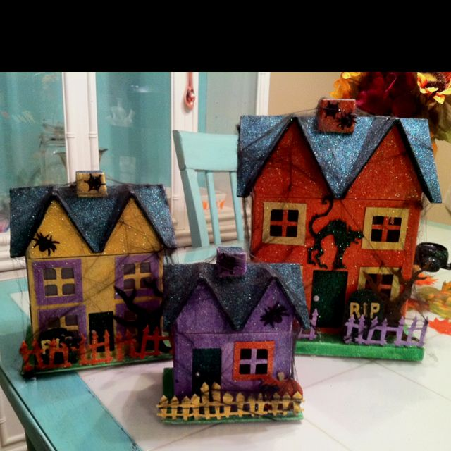 357 best halloween putz houses images on pinterest for How to make a cardboard haunted house