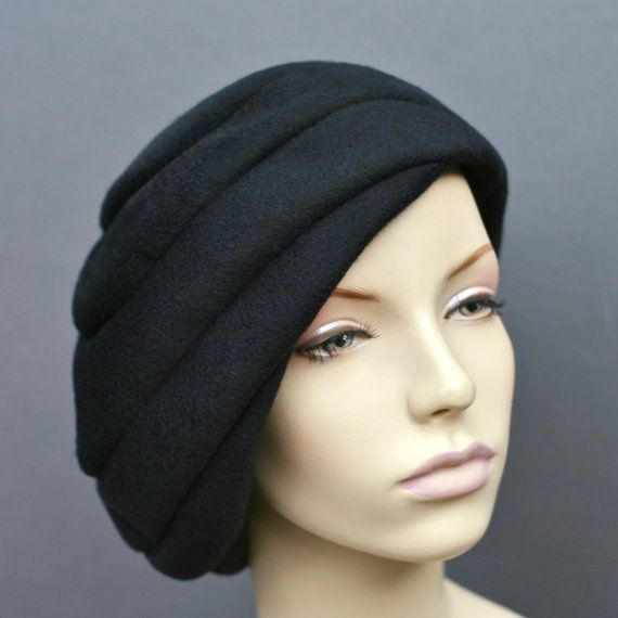 Black Cashmere Vortex Beret Turban Snood Slouch by IDHatShop, $149.00