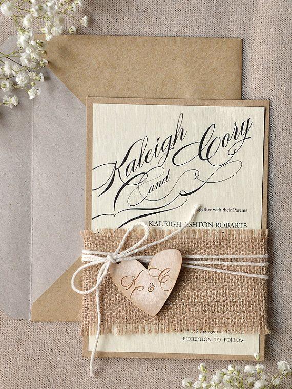 Rustic Wedding Invitation, Calligraphy Wedding Invitations , Engraved wood heart Wedding Invitation, Belly Band Invitation, Eco Friendly