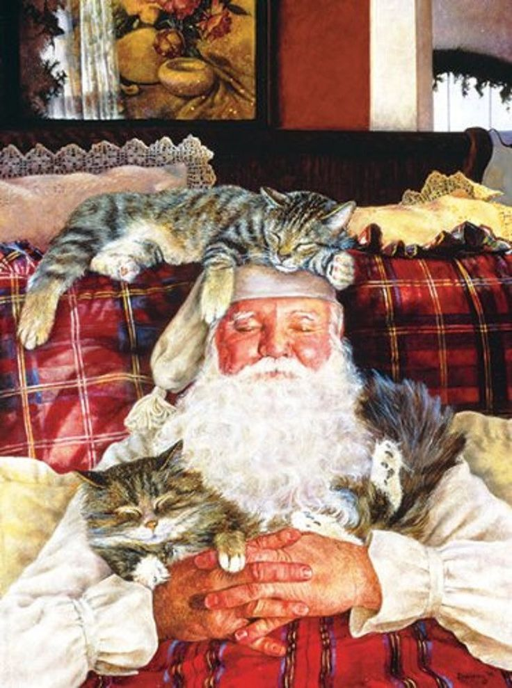 Santa's Cat Nap - Christmas Jigsaw Puzzle - 1000 pc by SunsOut Inc Made with pride in the USA Art by Susan Brabeau. Licensed By Art Licensing International. What a cozy image for you to assemble! Fath